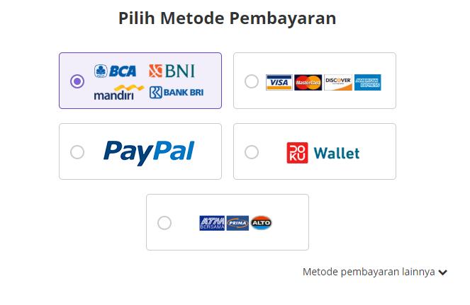 Pilih metode pembayaran untuk beli domain
